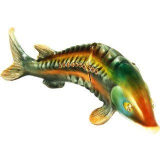 "Objet D'Art Release #324 ""The Beluga Sturgeon"" Critically Endangered Species Fish Handmade Jeweled Metal & Enamel Trinket Box   Action Figure Accessories"