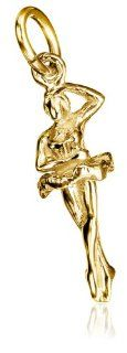 14k Yellow Gold Ballet Dancer Charm: Jewelry