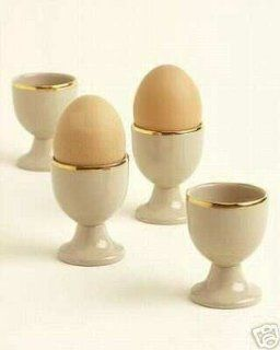 Martha Stewart by Mail Wedgwood Drabware Gilded Traditional Egg Cup, Set of 4 Dinnerware Kitchen & Dining