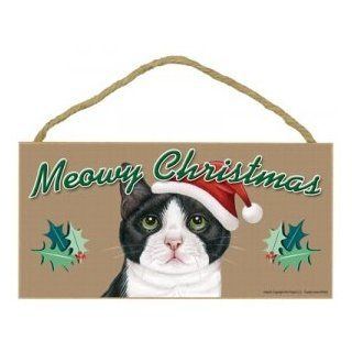 """MEOWY CHRISTMAS"" WOODEN SIGN   TUXEDO CAT (Mostly White) : Door Stops : Office Products"