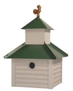 Bird House w Smoke Gray Finish, Green Metal Roof & Rusty Rooster Finial