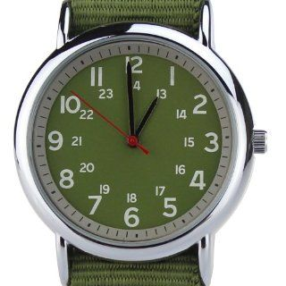 Orkina Quartz Silver Case Fashion Military Green Nylon Canvas Band Wrist Watch BU001 G: Orkina: Watches