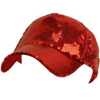 Unisex Sequins Shiny Flashy Dance Party Baseball Hat Ball Cap Red Adjustable