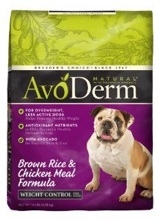 AvoDerm Natural Chicken Meal and Brown Rice Formula Weight Control Dog Food, 14 Pound  Dry Pet Food