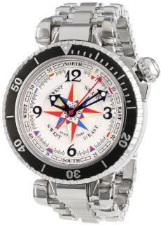 Gio Monaco Men's 369 Poseidon White Dial Automatic Stainless Steel Compass Watch: Watches