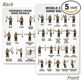 "Mobile Crane Hand Signals (Front) / Overhead Hand Signals (Back), 5 Cards / pack, 3.375"" x 2.125"": Industrial Warning Signs: Industrial & Scientific"
