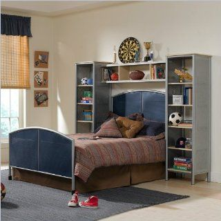 Hillsdale Universal Youth Metal Bed with Wall Storage 4 Piece Bedroom Set in Navy and Silver     Bedroom Furniture Sets