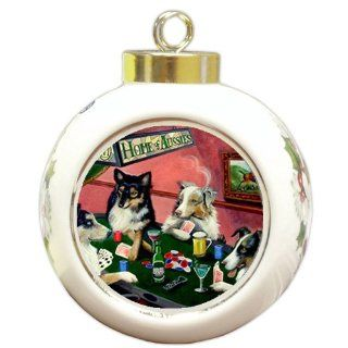 Home of Aussies Australian Shepherd Ornament Four Dogs Playing Poker   Christmas Ball Ornaments