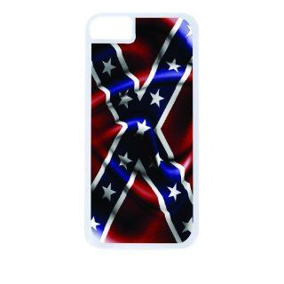 Rebel Confederate Flag White Tough Plastic Outer Case with Black Rubber Lining for Apple Iphone 5 (Double Layer Case with Silicone Protection), Iphone 5s Universal: Verizon   Sprint   At&t   Great Affordable Gift!: Cell Phones & Accessories