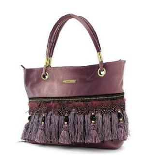 Nicole Lee Handbags Fringe Tassel Purses Greta Feather Dusty Pink: Clothing