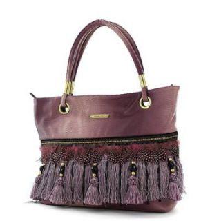 Nicole Lee Handbags Fringe Tassel Purses Greta Feather Dusty Pink: Clothing