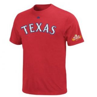 MLB Boys' Texas Rangers Josh Hamilton 2011 World Series Name & Number T Shirt (Athletic Red, Medium)  Sports Fan T Shirts  Sports & Outdoors
