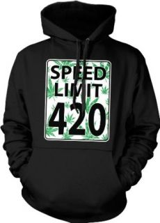 Speed Limit 420 Hooded Sweatshirt, Funny Marijuana Pot Weed Leaves Speed Limit Sign 420 Design Hoodie: Clothing
