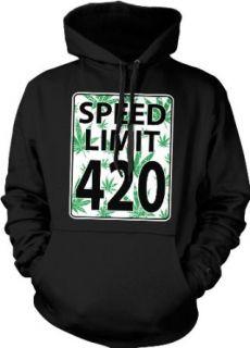Speed Limit 420 Hooded Sweatshirt, Funny Marijuana Pot Weed Leaves Speed Limit Sign 420 Design Hoodie: Clothing
