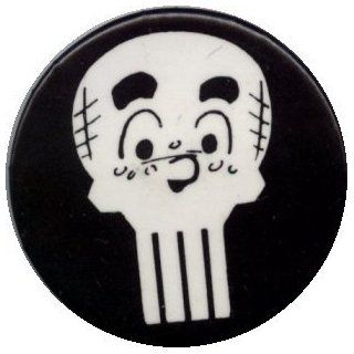 "The Punisher With The Archies   Punisher Skull with Archie Face (White On Black)   1 1/2"" Button / Pin: Clothing"