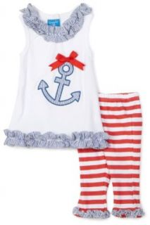 Mud Pie Baby Boathouse 2pc Anchor Tunic & Striped Leggings Set, White/Blue/Red, 2 3T Clothing