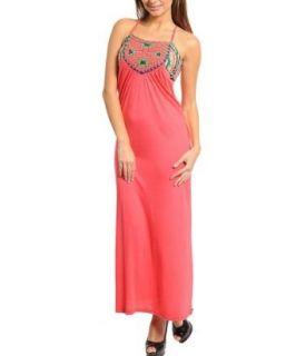 Elegant Coral Long Maxi Dress, Sleeveless Maxi Dress (medium) at  Women�s Clothing store