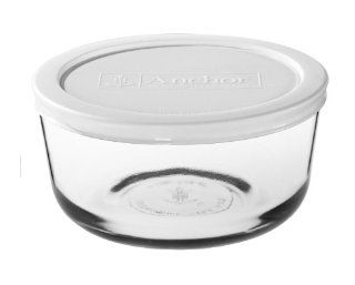 Anchor Hocking 8 Piece 4 Cup Round Food Storage Containers with White Plastic Lid, Set of 4 Food Savers Kitchen & Dining