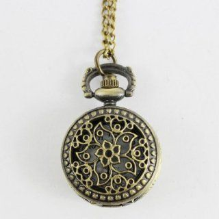 Vintage Style Antique Pocket Watch Quartz Bronzer Case Bauhinia Engraving Necklace Watch: Watches