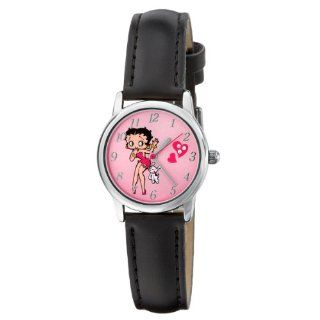 Armitron Women's 9100021 Betty Boop and Dog Silver Tone Black Strap Character Analog Watch: Watches
