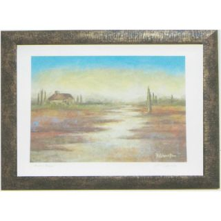 Alpine Art & Mirror 40 in W x 25 1/2 in H David Linanetz Country Cabin Overlooking Meadow Wall Art in Rustic Gold Frame