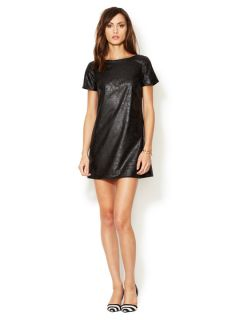Oxford Faux Leather Shift Dress by Julie Haus