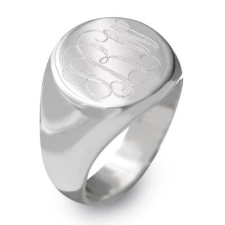 Sterling Silver Round Engraved Signet Ring (1 3 Letters)   Zales
