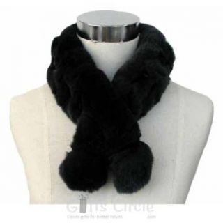 Stylish 100% Rabbit Fur Neck Collar Scarf Boa, Black, 1 Each at  Women�s Clothing store