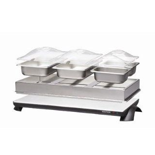 Toastess TWB 449 Stainless Steel Cordless Buffet Server Warming Tray 3 Dishes: Kitchen & Dining