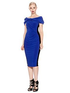 Pied a Terre Block Colour Cap Sleeve Mid Length Bodycon Dress Black & Blue