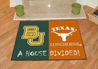 "Fan Mats 7651 Baylor Bears vs Texas Longhorns 34"" x 45"" House Divided Area Rug / Mat  Area Rugs  Sports & Outdoors"