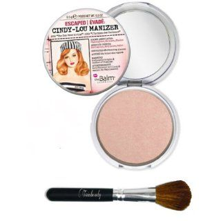 The Balm Cindy Lou Manizer Aka the Con Tour Artis, Luminizer Shimmer, Highlighter and Eyeshadow, 0.3 Ounce with Twinbeauty Pro Brush : Beauty