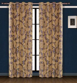 Dolce Mela DMC469 Jacquard Damask Drapery Window Treatments with Grommet Curtain Panel, Venus   Modern Pattern Window Curtain