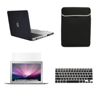 "TopCase New Macbook Pro 13"" 13 inch with Retina Display A1425 and A1502 (NEWEST VERSION 2013) 4 in 1 Bundle   Black Rubberized Hard Case Cover + Matching Color Soft Sleeve Bag + Silicone Keyboard Cover + LCD HD Clear Screen Protector with TopCase Mous"