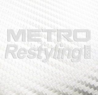 "White Metro 3D Flexible Carbon Fiber Vinyl Wrap Film 48""x12"": Automotive"