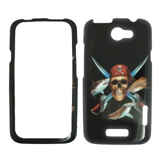 HTC ONE X / 1 X AT&T   Pirate Skull Swords and Fish on Black Shinny Gloss Finish Hard Plastic Cover, Case, Easy Snap On, Faceplate.: Cell Phones & Accessories