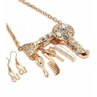 Big Hair Dryer Necklace Earring Set Hair Stylist Scissor Comb Brush Gold Tone: Pendant Necklaces: Jewelry