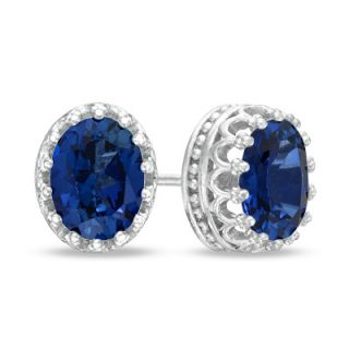 Oval Lab Created Blue Sapphire Crown Earrings in Sterling Silver
