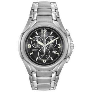 Mens Citizen Eco Drive™ Chronograph Titanium Watch with Black Dial