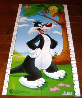 Baby Looney Tunes Tweety Bird Sylvester Growth Chart Licensed Product   Childrens Wall Decor