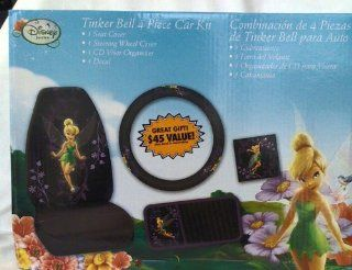 Tinkerbell 4 Piece Car Kit w/ Seat Cover, Steering Wheel Cover, CD Visor & Decal by Plasticolor Automotive