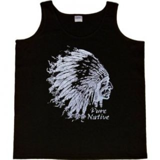 WOMENS TANK TOP  BLACK   SMALL   Pure Native (Metallic Ink)   Native American Indian Chief Clothing