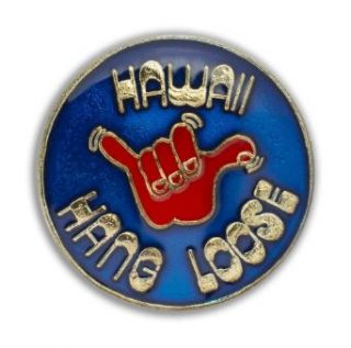 Islander Hawaii Lapel or Hat Pin Hang Loose Red, Blue One Size Clothing