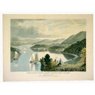 Art West Point, from above Washington Valley looking down the River  Aquatint  William James Bennett
