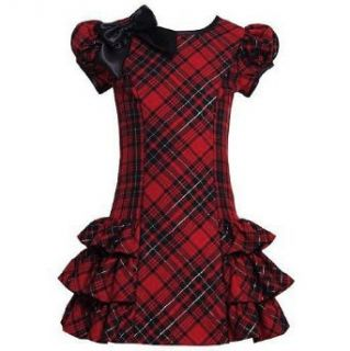 Bonnie Jean Girls 4 6x Red Black Plaid Side Ruffle Holiday Dress, 6x Clothing