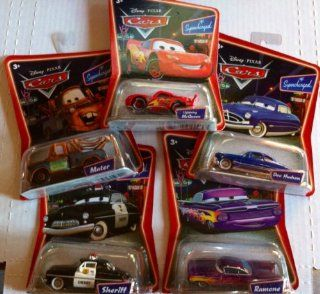 Disney Pixar Cars Movie Supercharged Sheriff, Doc Hudson, Ramone, Mater, Lightning McQueen: Toys & Games