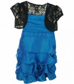 BCX Sleeveless Dress with Crochet Bolero Turquoise 14 Special Occasion Dresses Clothing