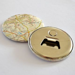 vintage map magnetic bottle opener by grace & favour home