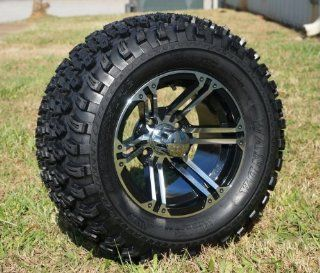 """12"""" Golf Cart Wheels and Tires Combo Set of 4 Machined/Black w/ All Terrain Tires: Automotive"""