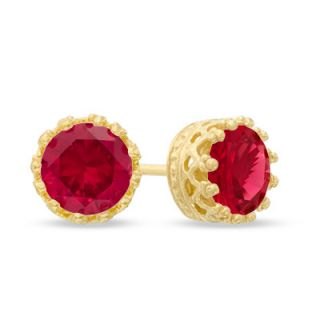0mm Lab Created Ruby Crown Earrings in Sterling Silver with 14K Gold